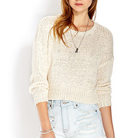 FOREVER 21 Cozy Cropped Sweater Ivory Large