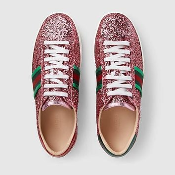 GUCCI Ace Pink Glitter Low-top Sneaker