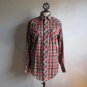 Vintage 80s Western Mens Shirt Terra Cotta Jade Plaid 80s Country Rockabilly Shirt Small