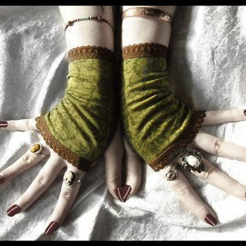 Dryad Fingerless Gloves - Moss Olive Green Fern Damask Floral Paisley Brown Lace - Victorian Vampire Dark Tribal Bellydance Gypsy Goth Boho