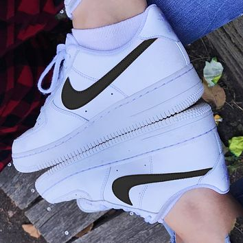 Classic Legend Sneakers NIKE Air Force 1 Fashion Breathable Running Sneakers Sport Shoes B Black hook