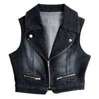 Zipper-Front Denim Vest; Urban Groove