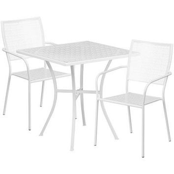 28'' Square White Indoor-Outdoor Steel Patio Table Set with 2 Square Back Chairs