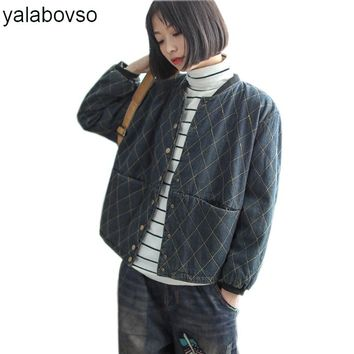 Yalabovso 2017 New Arrivals Autumn Hip Hop Denim Jacket 2Color Patchwork Students Ladies Loose Cool Jacket Coat A74-1753 Z20