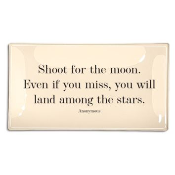 """SALE > Shoot For The Moon 4""""x 9"""" Decoupage Quote Tray"""