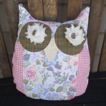 SHABBY OWL - Pillow -OWL- Owl Pillow - Laura Ashley -Shabby Pillow - Floral Owl - Floral Pillow - Accent Pillow