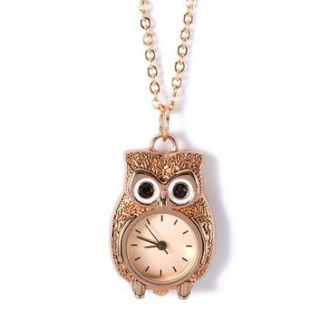 Rose Gold Owl Pocket Watch Charm Necklace – Claire's