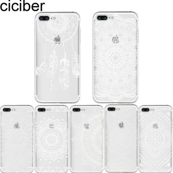 ciciber White Pastel Paisley Henna Mandala Case for Iphone 6 6S 7 8 plus 5S SE X Soft Silicone Phone Back Cover Capinha Coque
