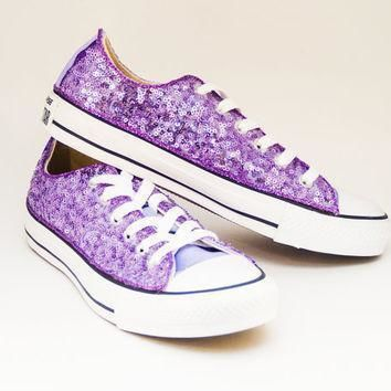 sequin lavender purple converse low top canvas sneaker shoes