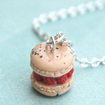 raspberries and cream french macaron necklace