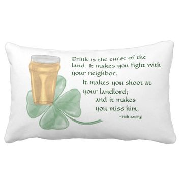 Beer & Shamrock/Irish Saying Lumbar Pillow