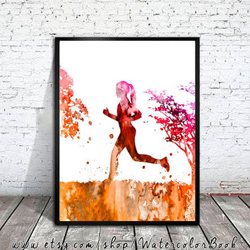 Running 2 Watercolor Print, Running art,  Run art, watercolor painting, watercolor art, Illustration, sport art, art print, sport poster