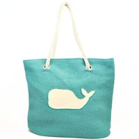 Whale Tote Bag with Rope Handle for Women (Turquoise)