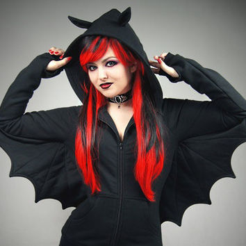 Bat black hoodie wings goth vampire ears animal