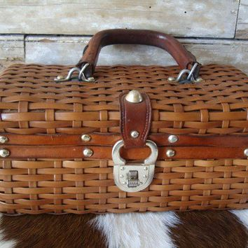 Vintage Purse 1950's or 60's  Leather Basket Weave