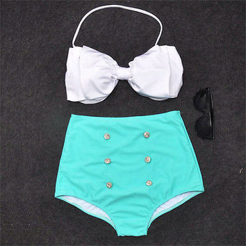 Vintage Retro Pin Up High Waisted Bikini Bow Swimsuit  Mint Green White S M L