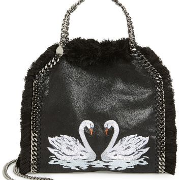 Stella McCartney 'Mini Falabella - Shaggy Deer' Embroidered Faux Leather Crossbody Bag | Nordstrom