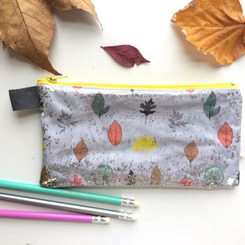 Sparkly Leaves Divided Pencil Case (handmade philosophy's pattern)