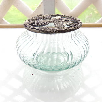 Vintage Potpourri Glass Jar from Rawcliffe, Pewter Lid from 1983, home  decor, business decor, gift for her, Mothers Day