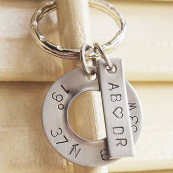 Custom Coordinates Latitude Longitude Keychain Personalized Location Long Distance Love Going Away Gift Initials Stainless Steel Keychain