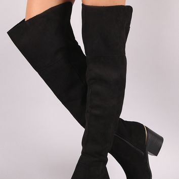 Bamboo Suede Slit Chunky Heeled OTK Boots