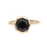 Octagon Gold Ring - Black Onyx