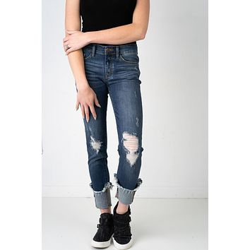 Judy Blue Paisley Dark Wash Cuffed Jeans