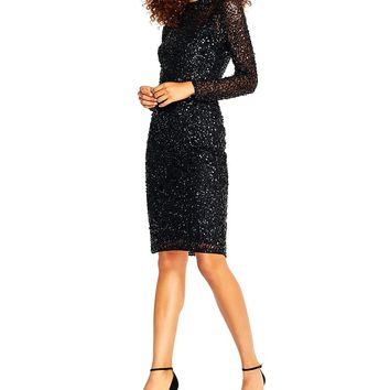 Adrianna Papell Beaded Mock Neck Short Dress | Dillards