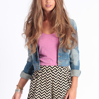 Side Line Chevron Shorts - $36.00 : ThreadSence.com, Your Spot For Indie Clothing & Indie Urban Culture