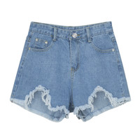 Blue High Waist Fringed Raw Hem Denim Shorts