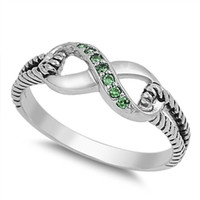 Sterling Silver Emerald Green CZ Infinity Ring with Cable Band Ring size 4-10