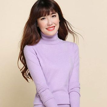 Women Sweater S-2XL Casual Turtleneck Cashmere Knitted Sweater Autumn Winter Solid Ladies Sweater High Quality
