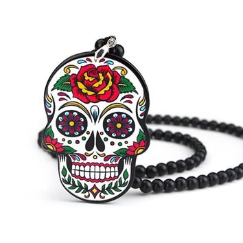 Car Skull Sugar Mirror Rear View Hanging Charm Pendant