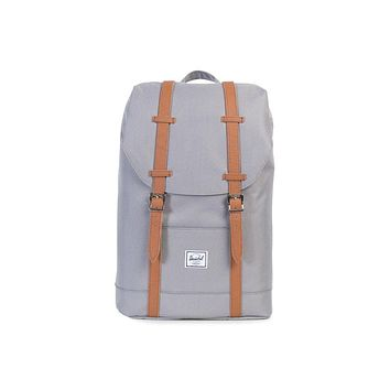 Herschel Supply Co. - Retreat Grey Tan Synthetic Leather Mid Volume Backpack
