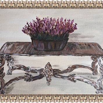 French interior lavander original painting, French decorated table still life, patina ivory table still life, Cottage Chic design