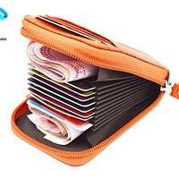 Genuine Leather Credit Card Holders Case RFID Blocking Organizer Compact Wallet with ID Window