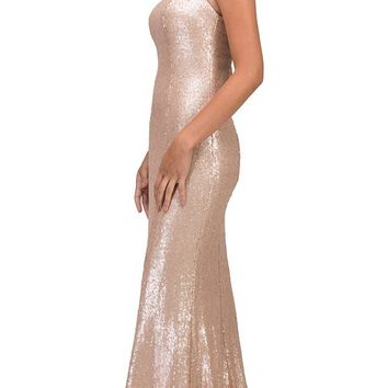 Blush Beaded Neck Sequins Halter Evening Gown
