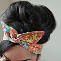 Bohemian dolly bow headband , Chic Head wrap