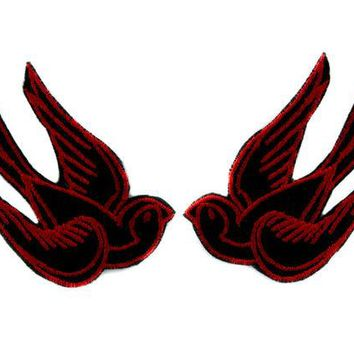 ac spbest Red Swallow Sparrows Birds Patch Iron on Applique Alternative Clothing Tattoo Rockabilly