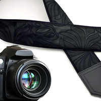 Black camera strap with tecture. Neck camera strap Ornaments. Camera strap for DSLR & SLR cameras. Gift for her by InTePro