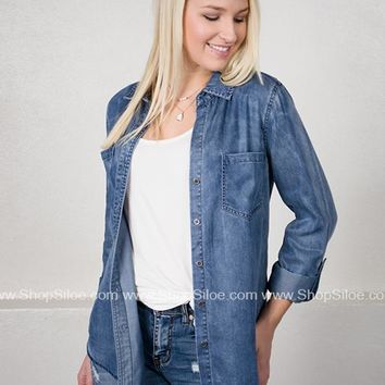 Classic Denim Button Down Top
