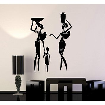 Vinyl Wall Decal African Family Women Child Ethnic Style Art Africa Stickers Mural Unique Gift (ig5040)