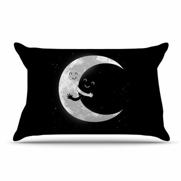 "Digital Carbine ""Moon Hug"" Black White Pillow Case"