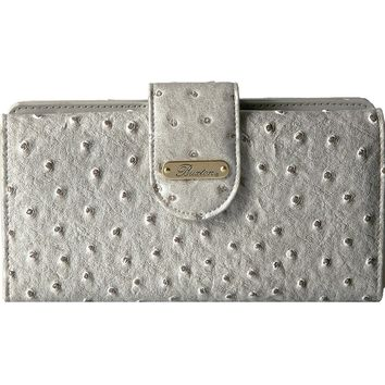 Buxton Womens Ostrich Brights Go To Faux Leather Embossed Clutch Wallet
