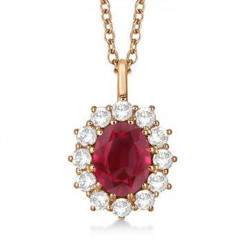 14k Rose Gold Oval Ruby and Diamond Pendant Necklace  3.60ctw