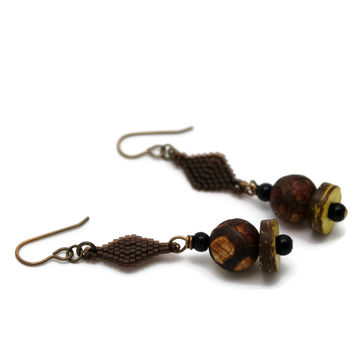 Brown Beaded Earrings With Ancient Tortoise Agate