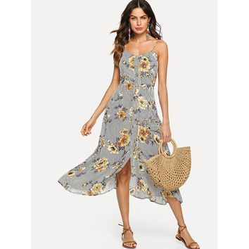 Multicolor Button Through Pocket Front Floral Print And Striped Cami Dress