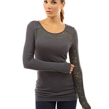 PattyBoutik Women's Crew Neck Lace Long Sleeve Top (Gray S)