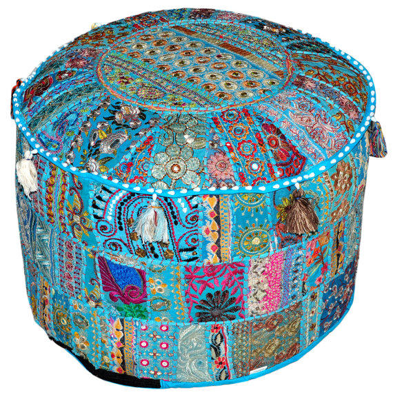Indian Pouf Stool Vintage Patchwork Embellished With Patchwork Living Room Ottoman Cover 18 X 13 Inches
