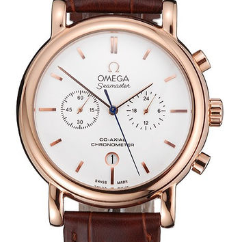 Omega Seamaster Vintage Chronograph White Dial Rose Gold Case Brown Leather Strap
